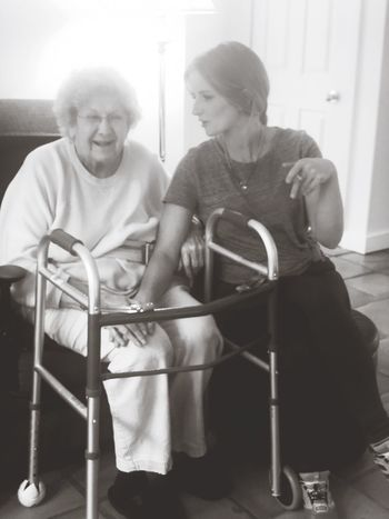 My beautiful grandmother and I enjoying small life moments that matter most! Family Farm Arkansas Time Positive Emotion Wise Words Life Laughing Smiling Love Family Time Grandmother Sitting Men People Real People Lifestyles Senior Adult Adult Indoors  Casual Clothing Two People Chair Seat Three Quarter Length Front View Mature Adult Full Length Happiness Women Leisure Activity