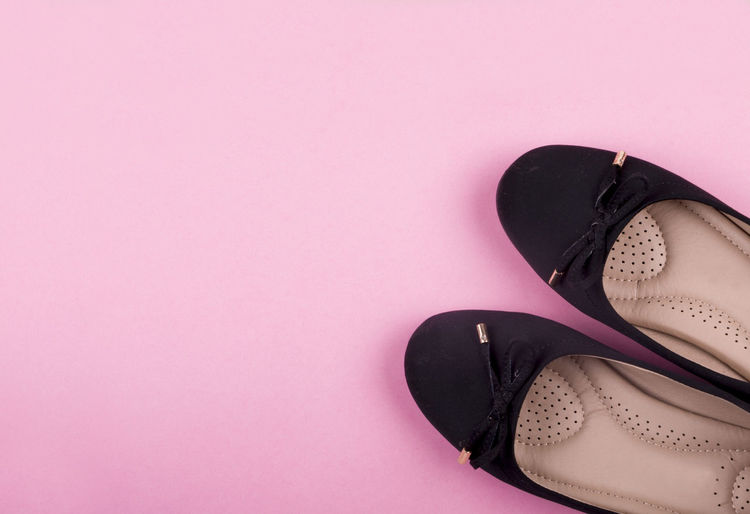 women's shoes over pink background. copy space Copy Space Woman Canvas Shoe Dress Shoe Fashion Female Flat Lay No People Over Head Pair Pink Color Shoe Shoelace Still Life Studio Shot Things That Go Together