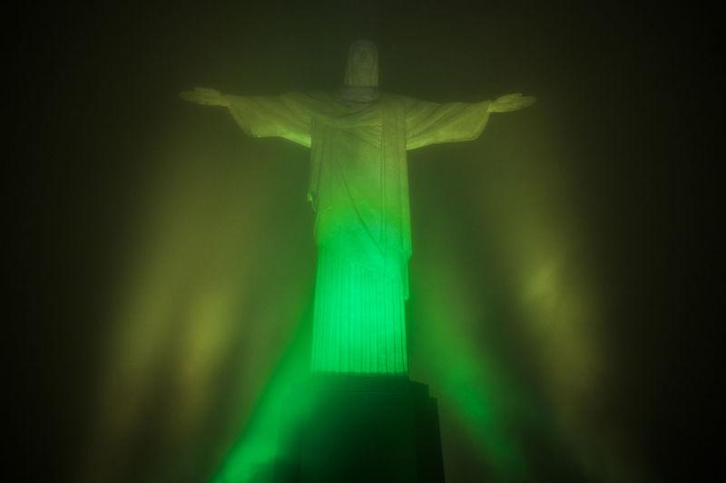 Brazil Cristo Redentor Green Rio De Janeiro Color Green Color Human Representation Illuminated Night No People Outdoors Patriotism Sky South America Statue Travel Destinations