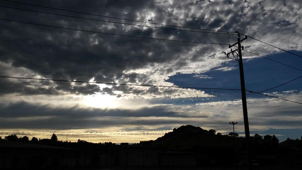 No Edit/no Filter Vaca Hills Evening Sky Taking Photos Hello World Enjoying Life Clouds Norcal Cali Life Changing Weather My Cali Life From My Point Of View Clouds And Sky Calisky Norcal Smartphone Photography Sky And Clouds Power Lines Silhouette Sunset Silhouettes