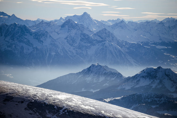 Italian Alps from Small Matterhorn, Petit Cervin. Alps Alps Switzerland Beauty In Nature Cold Temperature Landscape Mountain Mountain Range Nature No People Outdoors Paysage Scenics Sky Snow Tranquil Scene Tranquility Weather Winter Zermatt