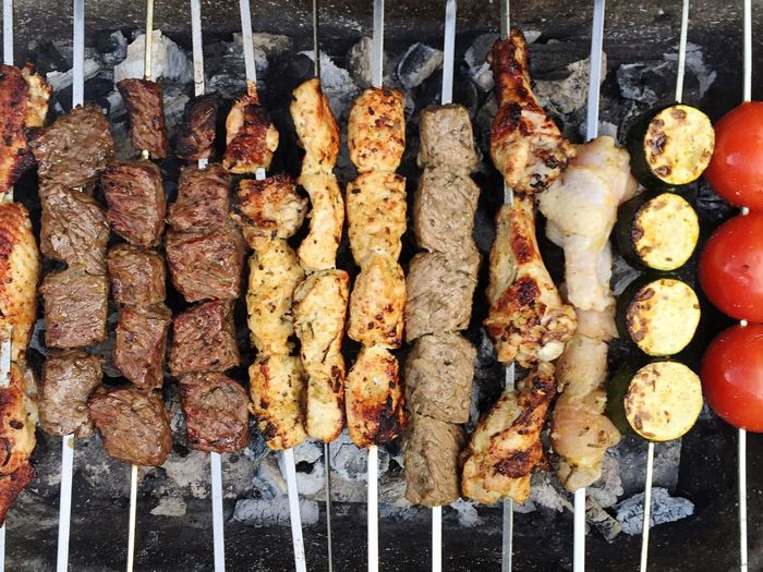 High angle view of kebabs on barbeque