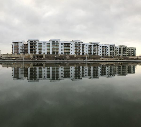 Reflection of buildings in water