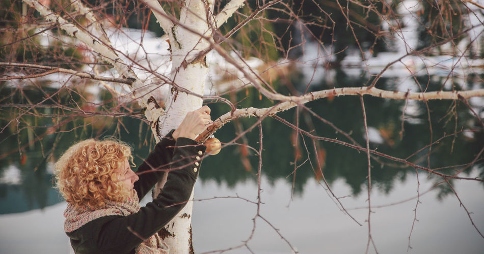 Woman tying christmas ornament on bare tree during winter