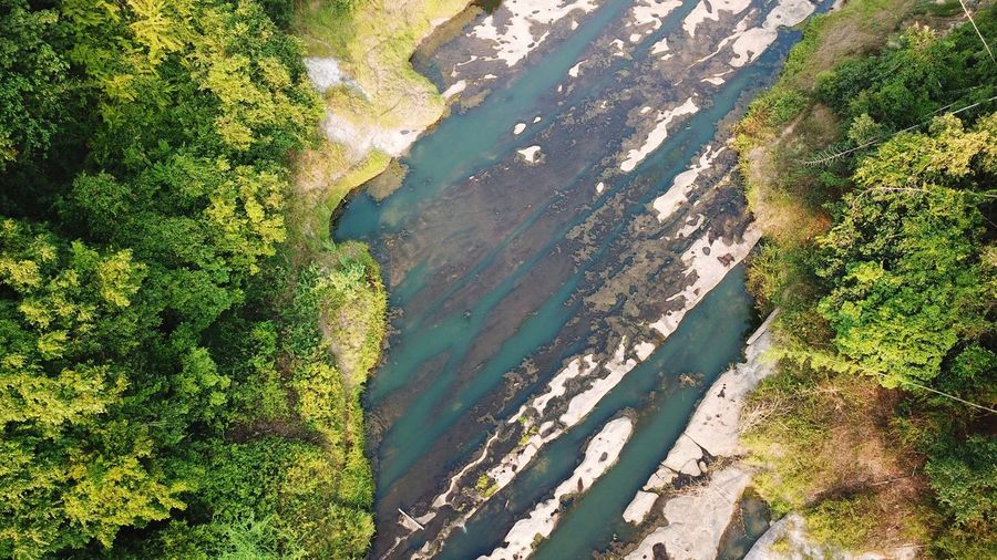 Aerial view the river and forest Lake Stone Nature River Nature Aerial View Drone  Landscape View Tree Agriculture Rural Scene Sunlight Shadow Field High Angle View Water Grass Landscape Plantation Algae