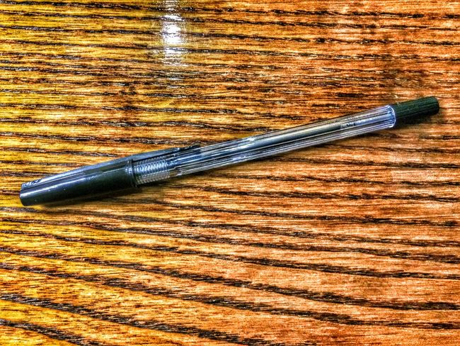 Pen Biro Ball Point Pen Plastic Clear Black Ink Wood Grain Brown Write Writing Tool