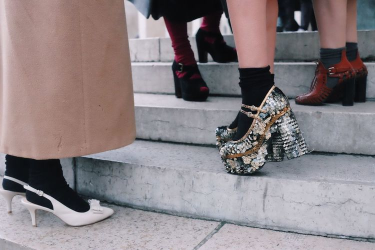 Fashion Shoes Heels Platforms Paris Fashion Week Paris Palais De Tokyo Sequins Friends Girls Street Style From Around The World Street Style
