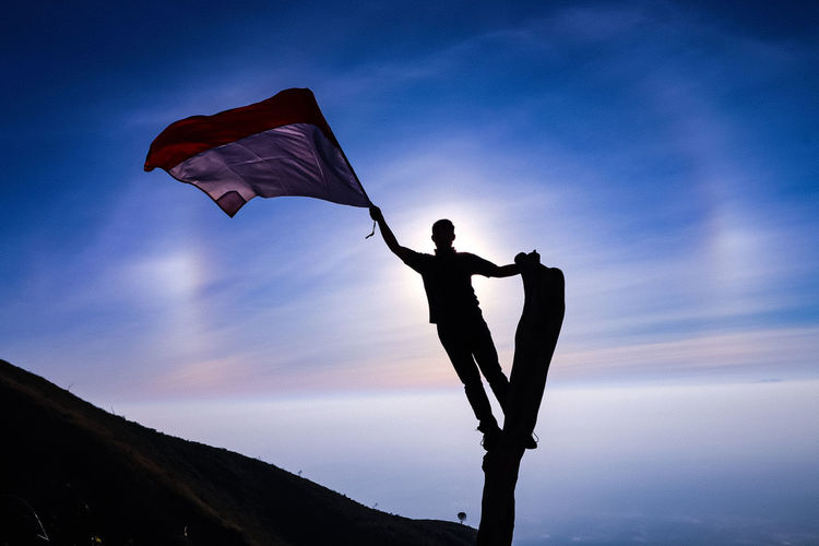 Silhouette man holding flag while standing on bare tree against blue sky