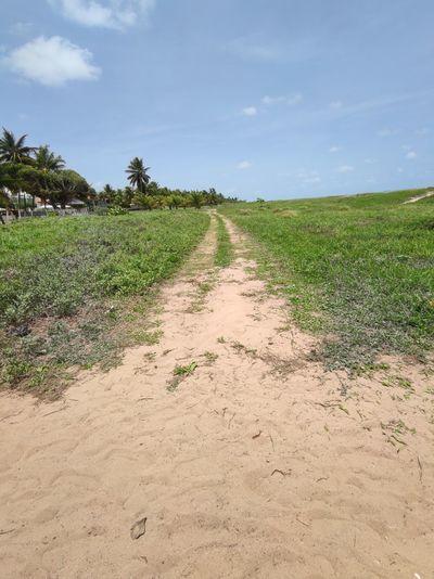 Dirt road on field against sky