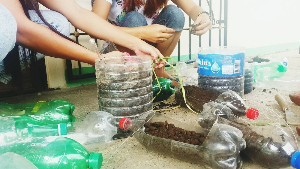 THE OTHER SIDE OF PLASTIC. Parents come up with a project of making pots out of used plastic bottles to reduce waste materials in school. Reduce Reuse Recycle Conservation RespectNature Recycled Materials Eye Em! EyeEm Best Shots Eyeemphotography Eyeem Philippines EyeemjourneyPerspective Beauty In Everything Mothernature