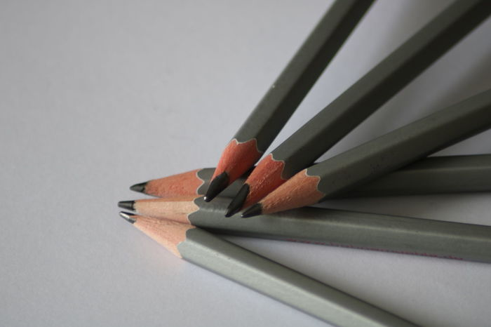 Close Up Close-up Colored Pencil Day Detail Indoors  Lead Pencils No People Paper Pencil Pencil Shavings Still Life Studio Shot Table White Background