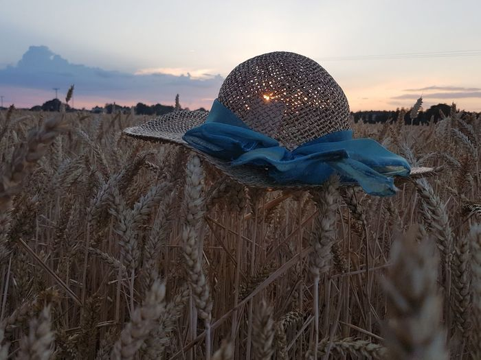 Close-up of hat on field against sky during sunset