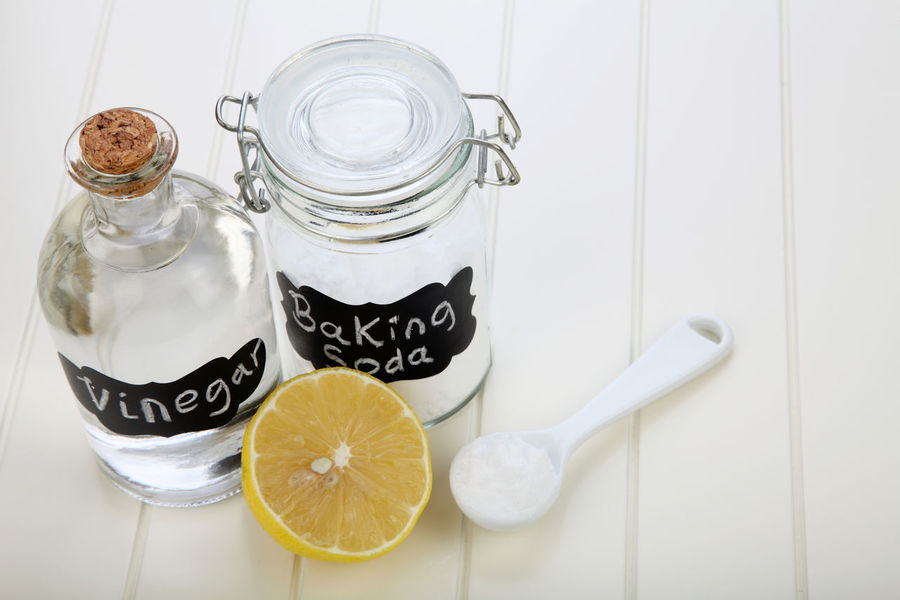 baking soda in the glass container with lemon Alkaline Anti Inflammatory Baking Soda Bicarbonate Clear Sky Close-up Cooking Glass Container Heart Burn Ingredient Jar Label Lemon Medicine Neutralizer Sodium Bicarbonate Spoon Spoonful Vinegar White Background White Vinegar