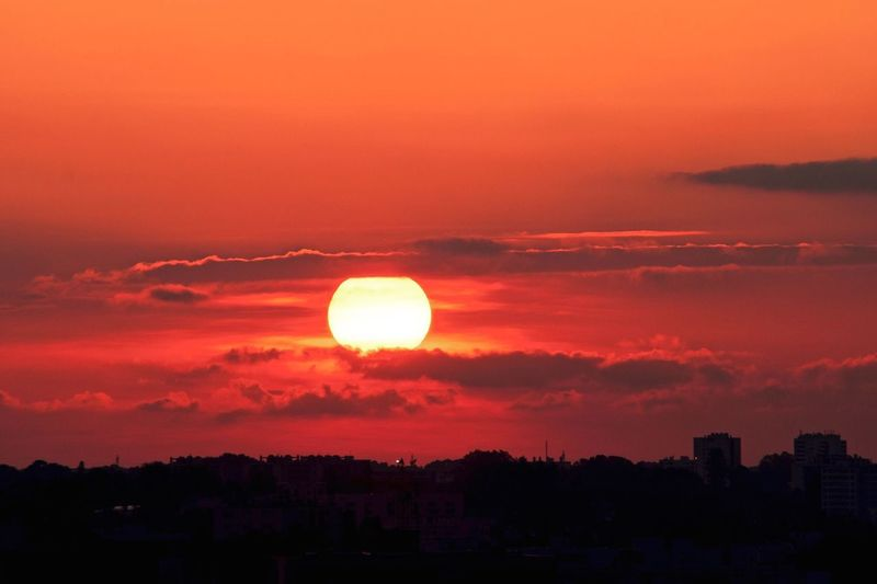 Sunset Silhouette Scenics Sun Orange Color Beauty In Nature City Tranquil Scene Idyllic Sky Tranquility Calm Cloud Nature Majestic Cityscape Outline Cloud - Sky Dark Outdoors
