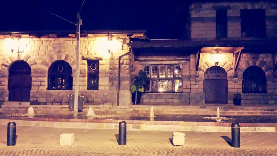 A great view from the bar last night! Train Station Old Buildings Night ✌ My Favorite Place The City Light