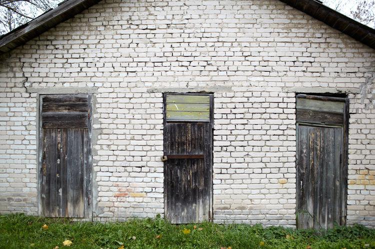 Black Brick Building Doors Garage Mysticism Scary Strange Terrible Three Wooden