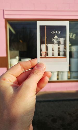 Human Hand Close-up Day Photo Instax Instantphoto Pink Donuts Doughnuts Coffee Coffee And Donut Sunlight Pastry Breakfast Small Business Point Of View