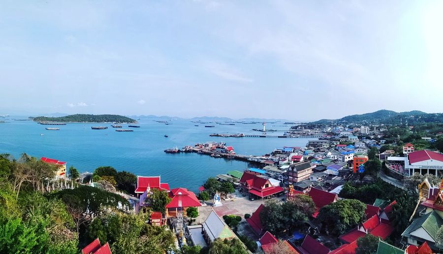 #kohSichang #beautifulPlace Kingpalace Temple Chinesetemple KohSichang Bridge Thailand Mountain Summerpalace Quiet Island Koh Sichang, Chonburi Quiet Place  Water Sea Cityscape City Red Tree Nautical Vessel Sky Horizon Over Water Shore Harbor Seascape Dock Sailing Boat Coast Port Boat Residential Structure