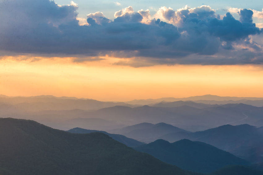 Beauty In Nature Blue Ridge Mountains Cloud - Sky Craggy Gardens Day Idyllic Landscape Mountain Mountain Range Nature No People Outdoors Scenics Silhouette Sky Sunset Tranquil Scene Tranquility