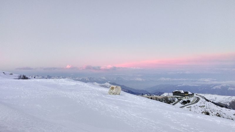 Enjoy The New Normal Cima Grappa Cold Temperature Winter Snow Frozen Landscape Nature Sky Day RedSky Sunset