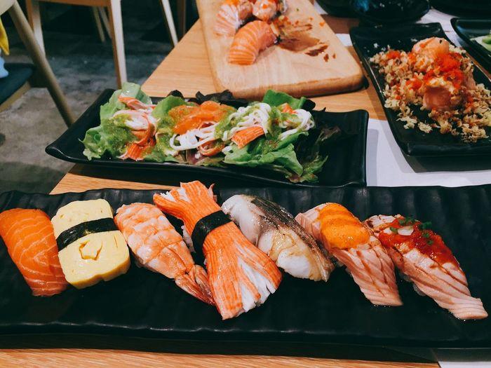 Food Food And Drink Seafood Food Japanese Food Sushi Healthy Eating Freshness Salmon - Seafood Indoors  Fish