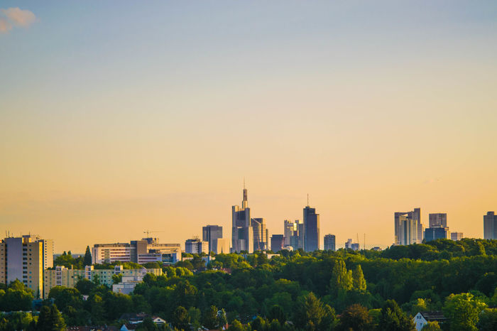 Frankfurt Frankfurt Am Main Architecture Building Exterior Built Structure City City Life Cityscape Day Downtown District Frankfurtliebe Growth Modern Nature No People Office Park Outdoors Sky Skyscraper Sunset Tall - High Travel Destinations Tree Urban Skyline