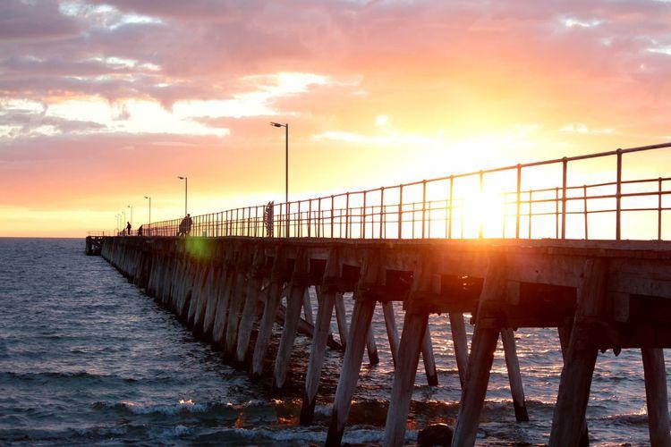 Beach Water Sea Sunset Beach Sunlight Sun Summer Sky Pier Sunbeam Jetty Wooden Post Seascape Shining