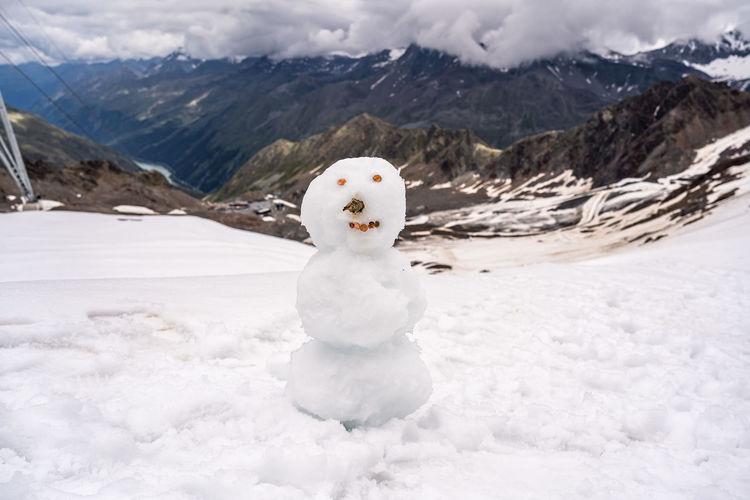 White snow on land against mountains