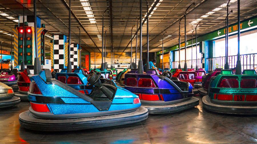 Bumper to Bumper Amusement Park Amusement Park Ride Bumper Cars Empty Group Illuminated Multi Colored