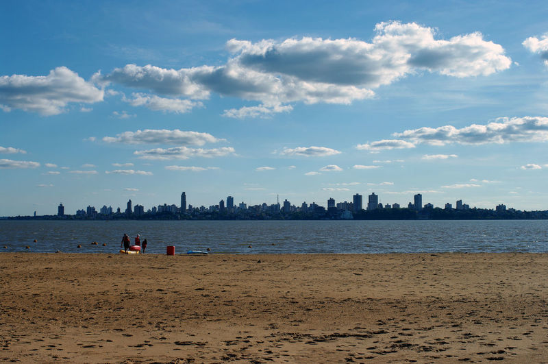 Encarnación's beach with the argentinian city of posadas in background
