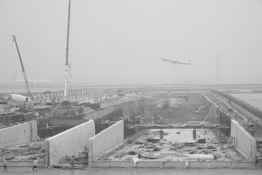 Airplane Travel Airport Transportation Work In Progress Black And White Photography Eyeem - Vision Eye4photography  No Edit/no Filter Black And White EyeEm Best Shots Perspective China Finding New Frontiers