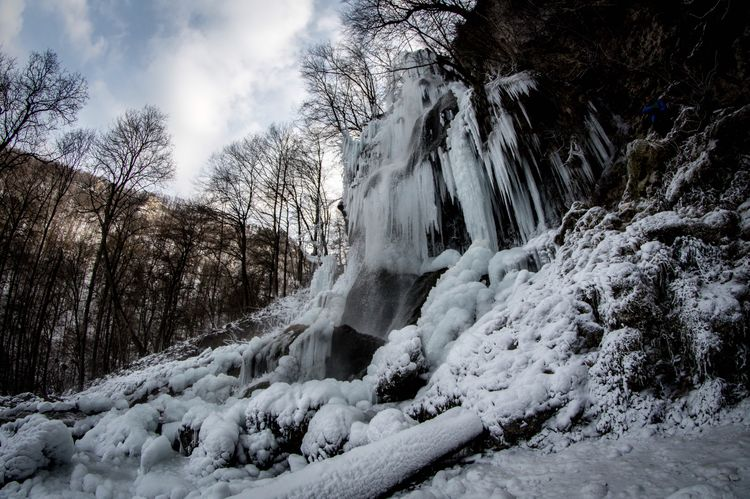 Frozen Waterfall Wasserfall Gefrorener Fisheye SonyAlpha58 Frozen Cold Temperature Snow Tree Winter Nature Sky Beauty In Nature No People Tranquil Scene Outdoors Forest Tranquility Day Scenics Landscape Water Waterfall Go Higher