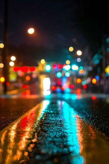 Overnight Success Illuminated Street The Way Forward Road Surface Level Night Defocused Glowing Multi Colored City Street Outdoors City Life No People Ontheway