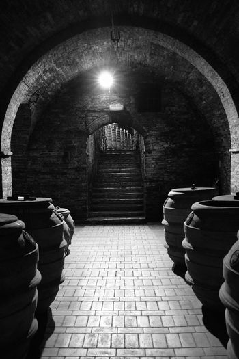 Black & White Montepulciano Toscana Italy Wine Not Blackandwhite Photography Cave In A Row Indoors  No Pepole Tunnel Wine Cask