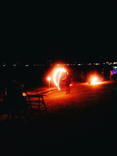 EyeEmNewHere The man was on fire 🔥 Night City Motion Sky Outdoors Night Swing Chaweng Beach Ark Bar Suratthani In Thailand