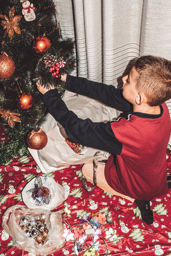 Rear view of boy in christmas tree at home