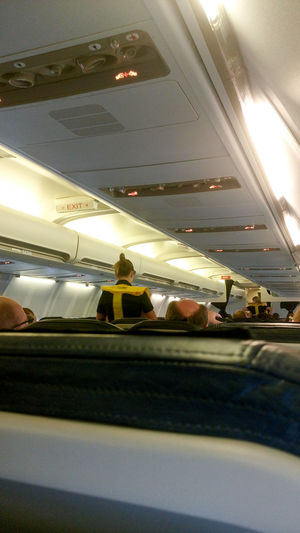 Plane Rear View Travel Traveling Aircraft Airplane Airplane Picture Aviation Business Travel Close-up Day Flight Flight ✈ Illuminated Indoors  Instructions Men One Person People Real People Safety Sky Stewardess Transportation Travel Day