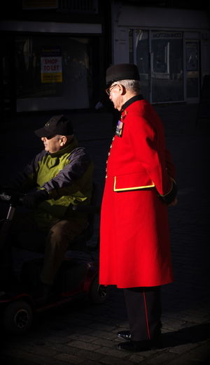 Red coat against the gloom Military Pensioner Military Veteran Pensioner Red Against The Dark Red Coat