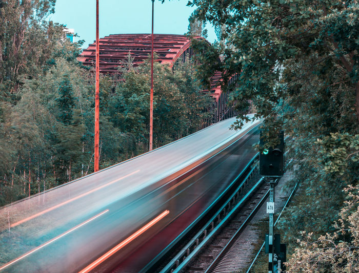 Blurred motion of train on railroad track