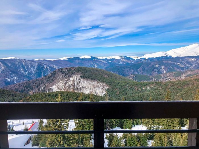 Snowcapped mountains and evergreen tree forest seen from the balcony Terrace Balcony Room Hotel WoodLand Woods Pine Tree Coniferous Tree Evergreen Forest Nature Day Snowcapped Mountain Snow Winter Mountain Scenics - Nature Mountain Range Beauty In Nature Sky Cloud - Sky Outdoors No People Environment Tranquil Scene Landscape Railing Tranquility Non-urban Scene Idyllic