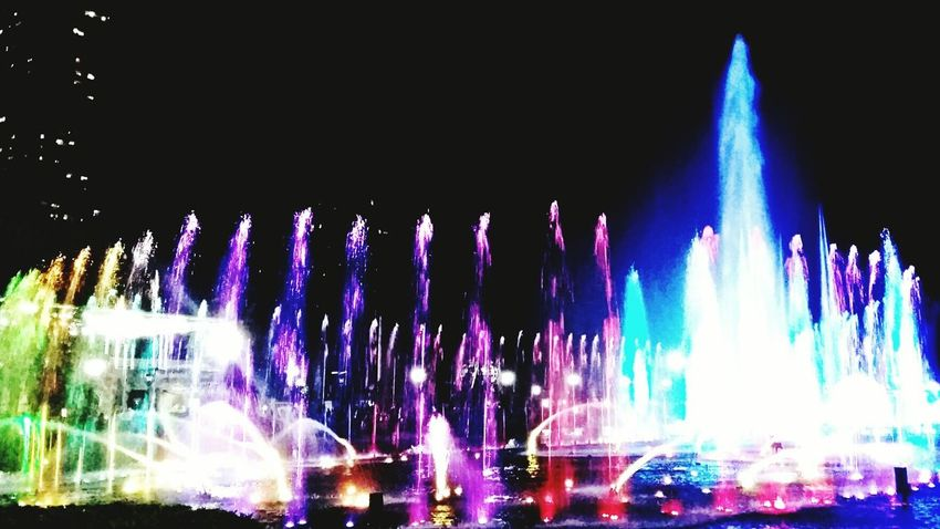 Dancing fountain lights. Exploding Outdoors Illuminated Glimpse Of Light Lights Night Dancing Lights  Beautiful View Memoirs