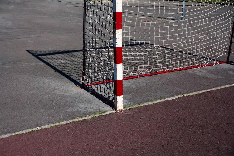 Old street soccer goal sport equipment
