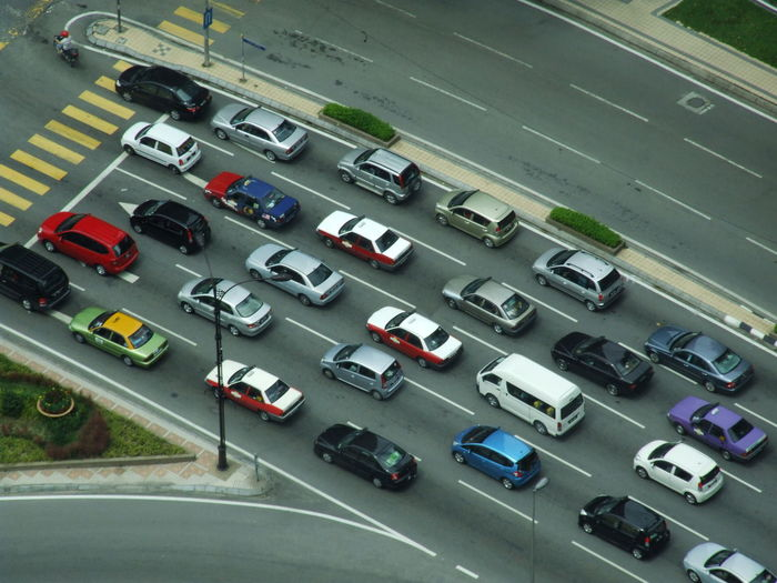 High angle view of traffic on road in city