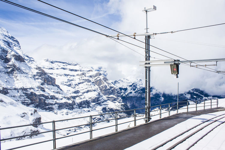 Snow Winter Cold Temperature Mountain Cable Sky Beauty In Nature Scenics - Nature Nature Snowcapped Mountain Cloud - Sky Transportation Mountain Range No People Outdoors Day