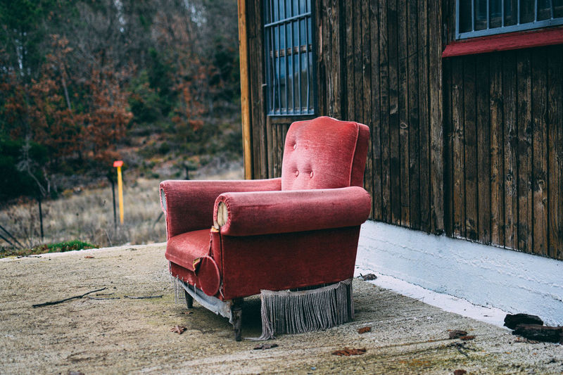 Empty chair on abandoned seat