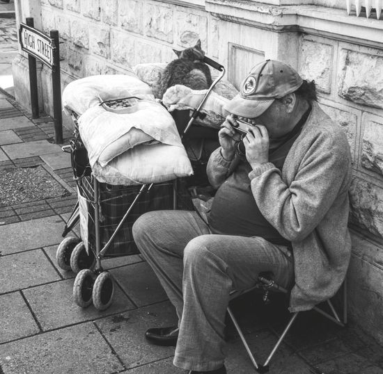homeless man and his cat in B&W EyeEm Team EyeEmBestPics EyeEm Gallery EyeEm Best Shots Lifestyles Homeless Cats HomelessHomeless People People And Places Blackandwhite Black & White Black&white Black And White Photography Busker Homeless 2016 EyeEm Awards Money Luxury Poverty Streetphotography Cats Cats Of EyeEm ThePhotojournalist2016eyeEmAwards The Photojournalist - 2016 EyeEm Awards TakeoverMusic Welcome To Black The Street Photographer - 2017 EyeEm Awards Pet Portraits This Is Masculinity This Is Aging This Is Strength