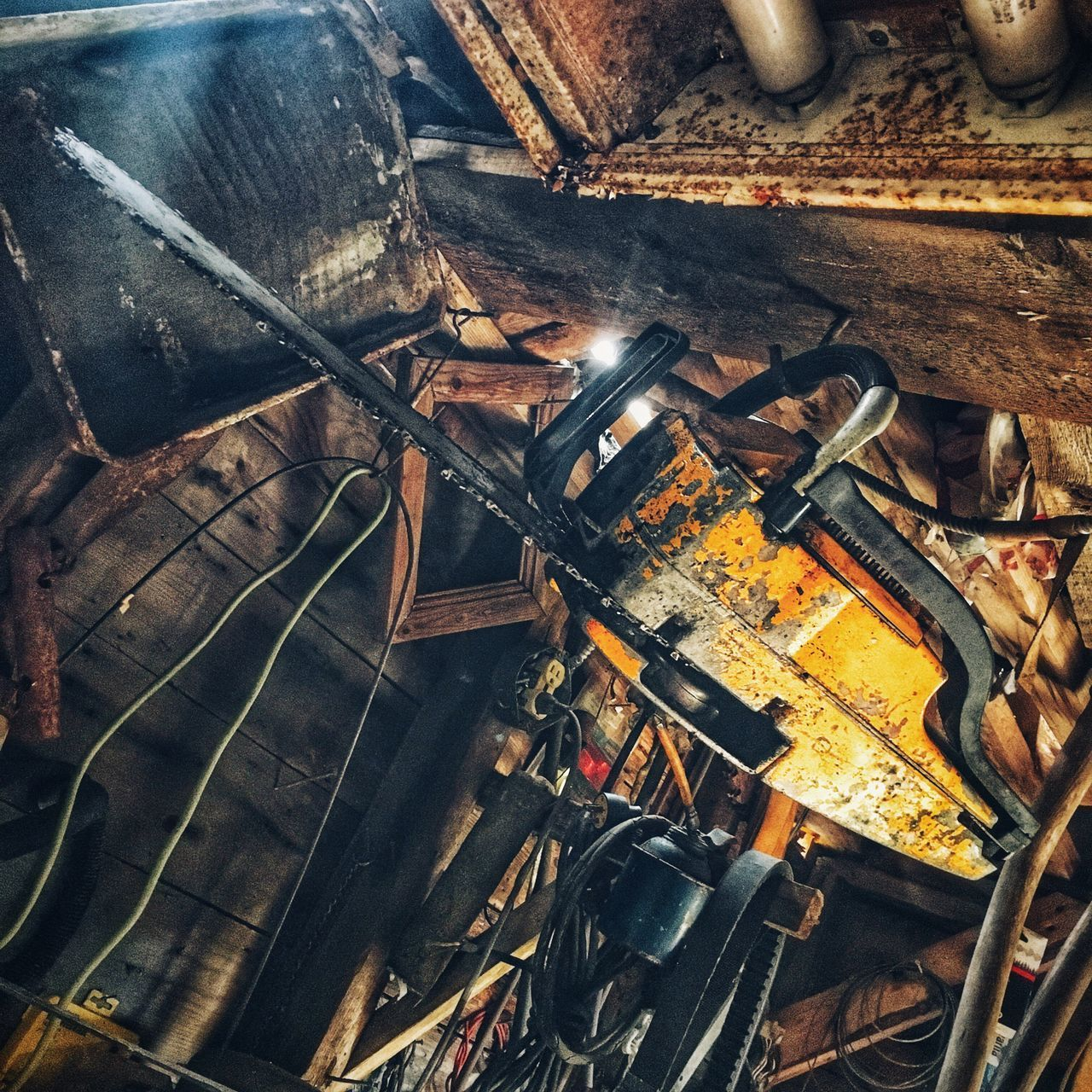 no people, abandoned, rusty, indoors, work tool, day, close-up