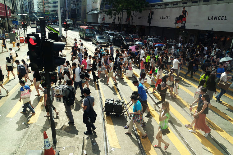 City City Life City Street Crossing Crowd Day High Angle View Large Group Of People Men Motion Outdoors People Real People Road Rush Hour Street Traffic Traffic Lights Tram Walking Women
