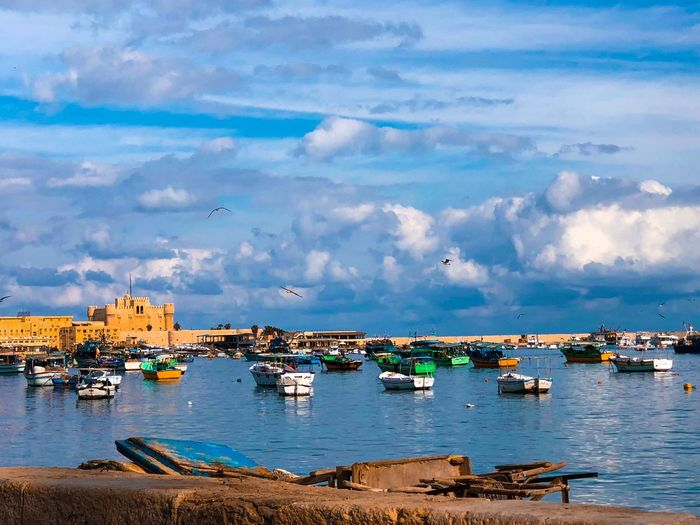 Alexandria #Fort #fishingboats Water Sky Cloud - Sky Nautical Vessel Sea Transportation Day Harbor Built Structure Architecture Outdoors Building Exterior Horizon Over Water City Scenics