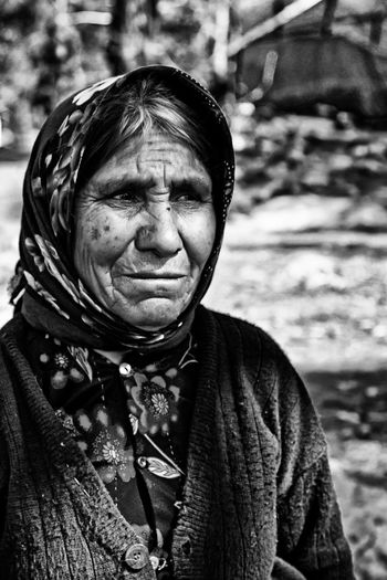 Senior woman looking away outdoors